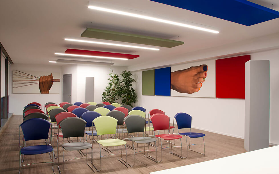 Caruso Acoustic Pannelli fonoassorbenti per Olimpias Group copertina
