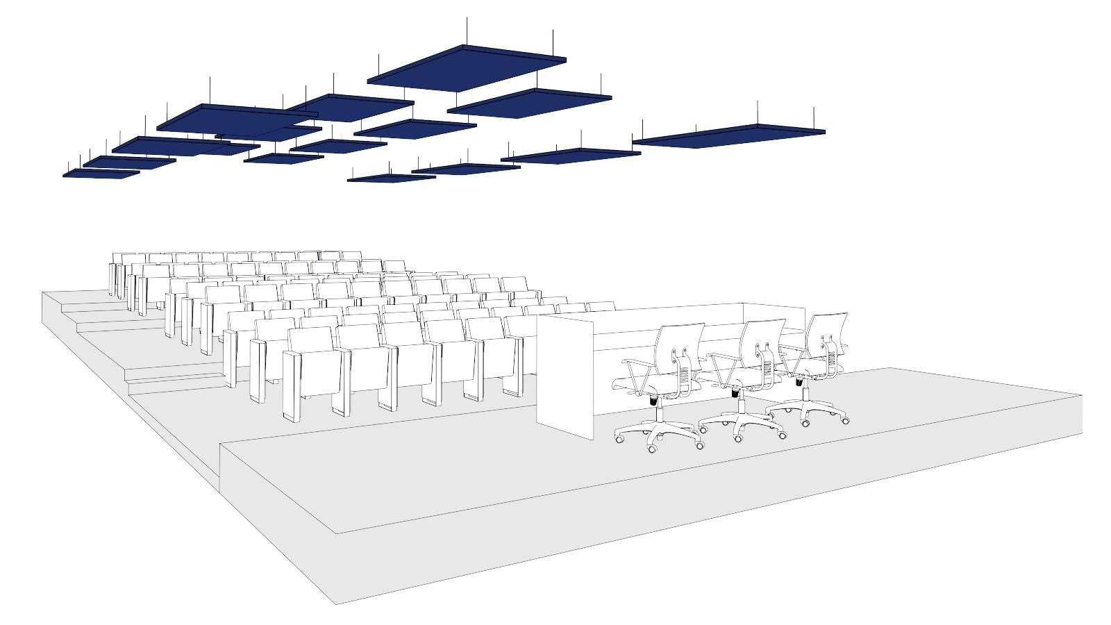 Distribuzione pannelli fonoassorbenti sala conferenze