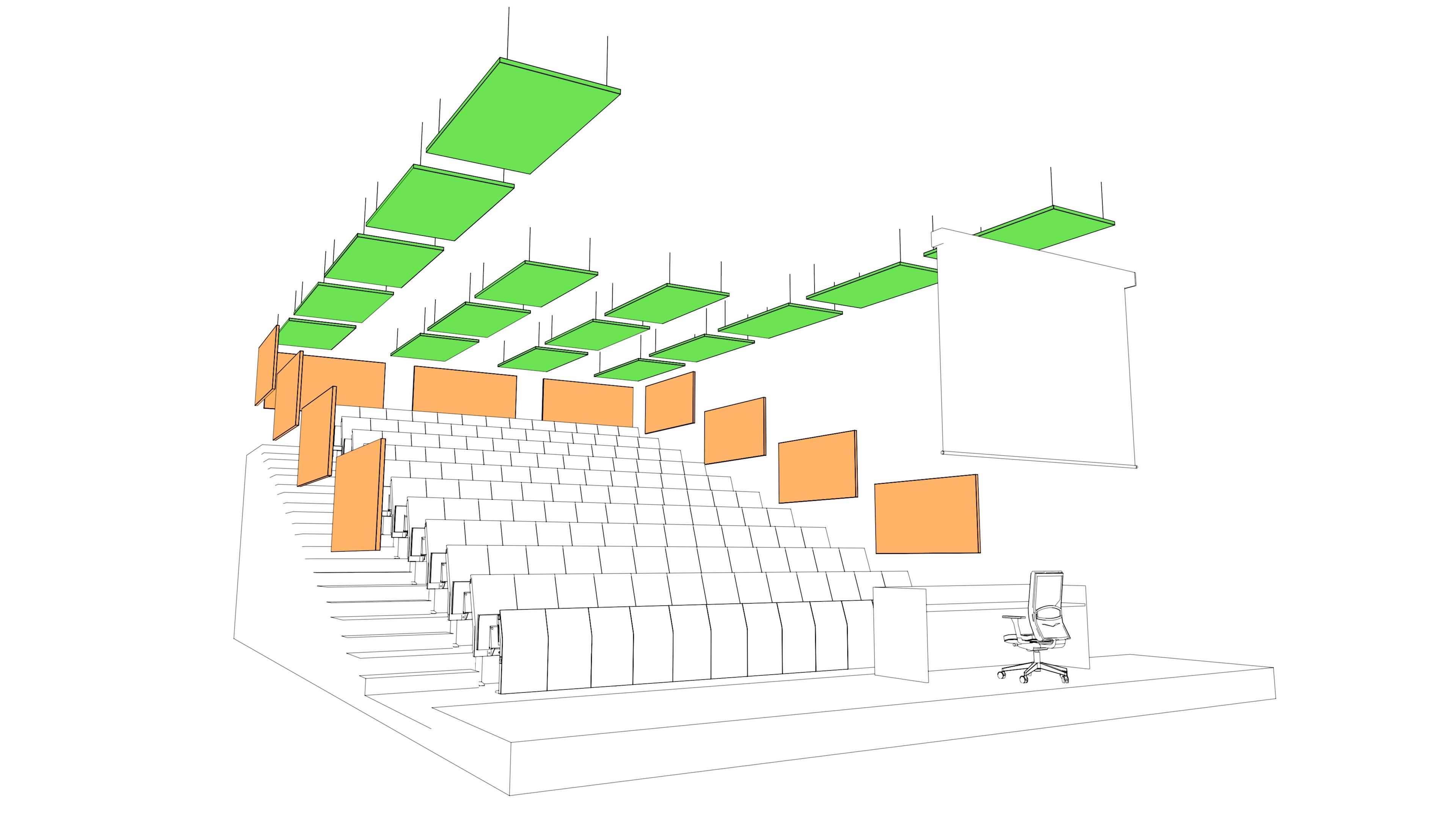 Distribuzioni pannelli fonoassorbenti aula didattica