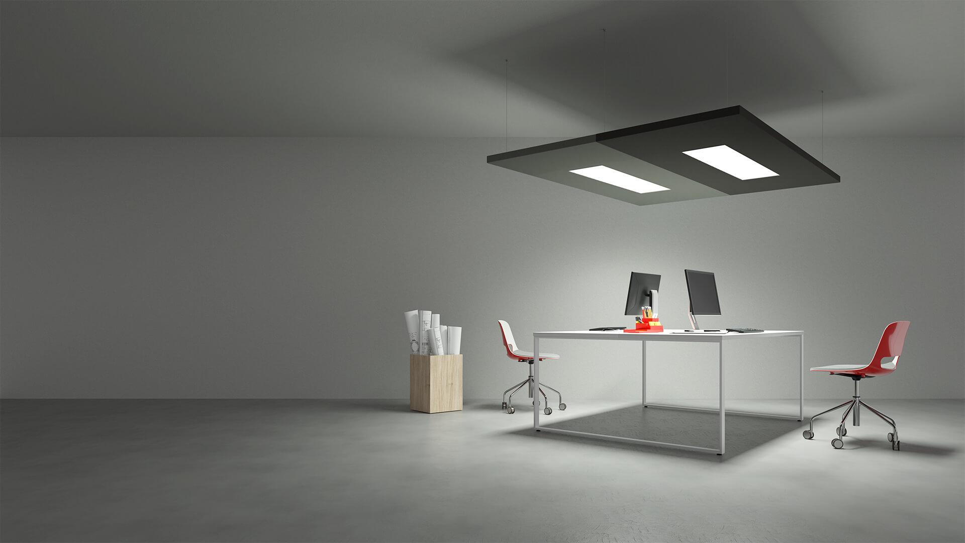 Eclairage Plafond A La Francaise panneaux phonoabsorbants avec éclairage led - caruso acoustic
