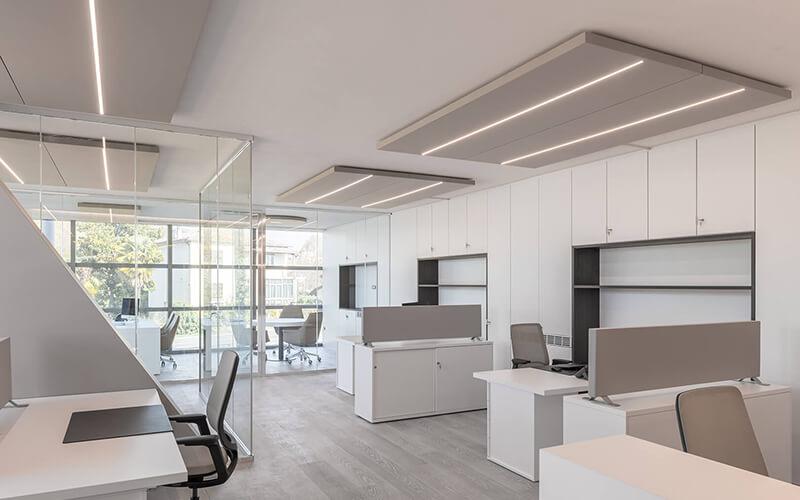 Private company - uffici open space pannelli fonoassorbenti